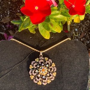Jewelry - Betsey Johnson bronze crystal flower necklace